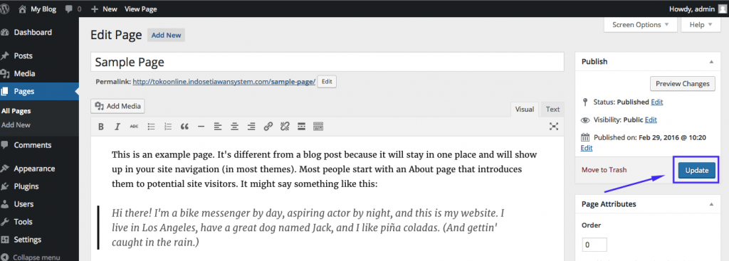 Edit Page WordPress 2