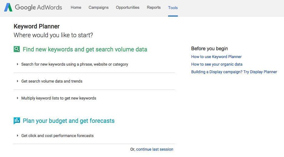 Riset Keyword Google Keyword Planner