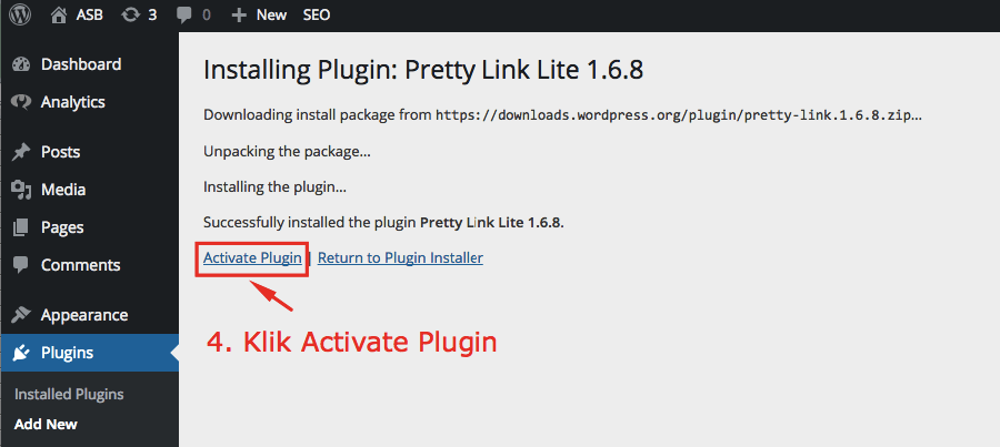 activate pretty link plugin
