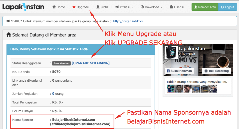 upgrade account lapak instan