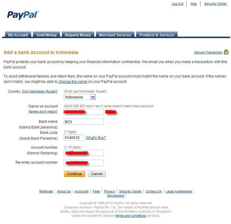 Verifikasi PayPal Menggunakan Bank Indonesia