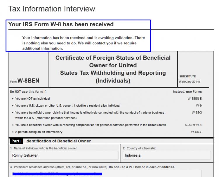 Isian Form Tax Langkah 9