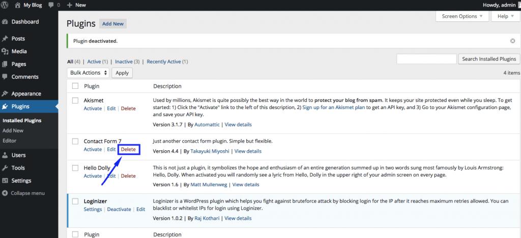 Delete WordPress Plugins