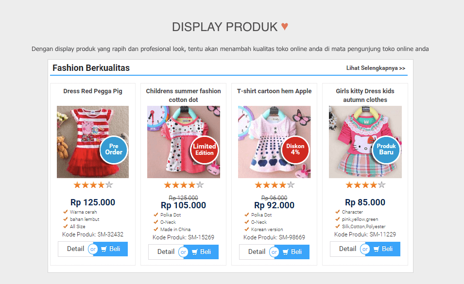 display produk rapi