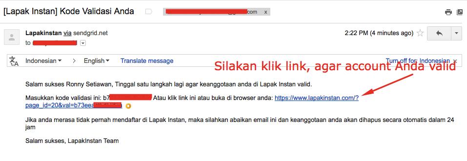 klik link validasi lapak instan