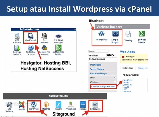 tools untuk instalasi wordpress dari cpanel